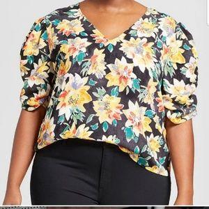 AVA VIV silky vneck floral blouse yellow black 1x